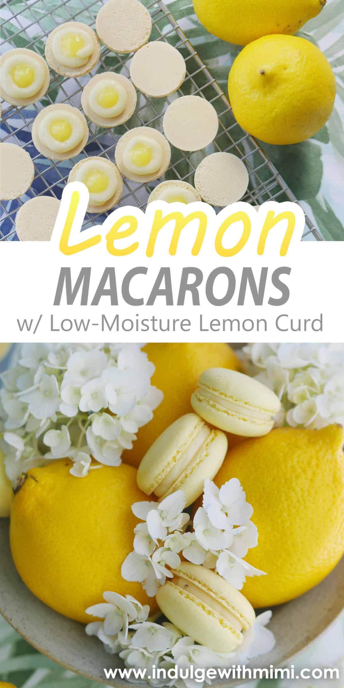 Three macarons sitting on three lemons with flowers.