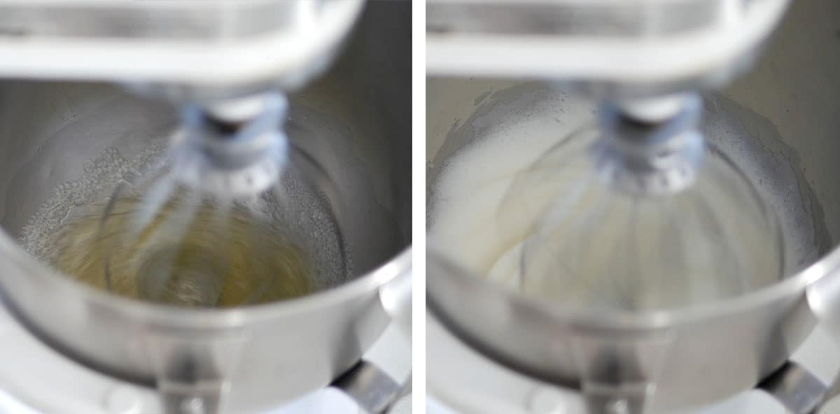 Egg whites being whipped in a mixer.