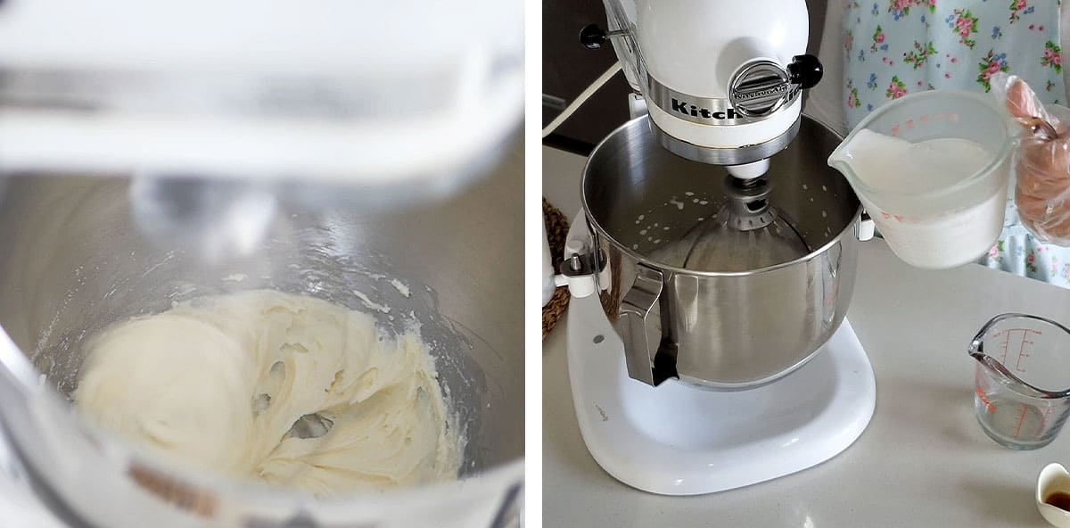 Whipped cream being poured into the mixer with marscapone cheese, as the mixer continues whipping.