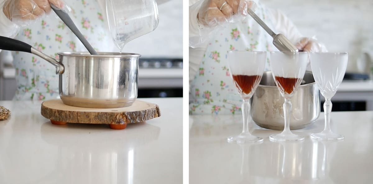 Three chilled glasses standing in front of a pot with a measuring spoon being poured into it.