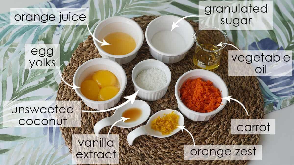 Wet ingredients for carrot cake in their respective vessels.