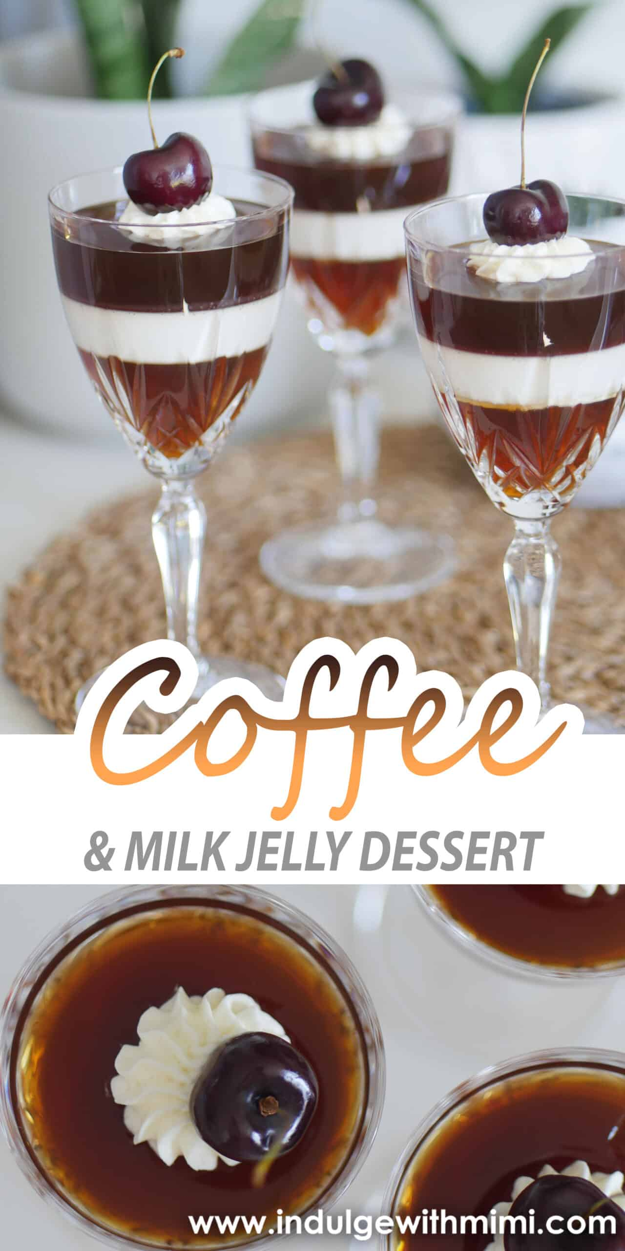 Three coffee and milk jelly desserts topped with whipped cream and a cherry inside of individual crystal glasses on a brown woven placemat.