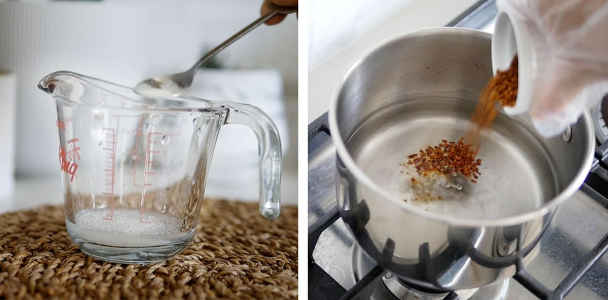 Instant coffee poured into a pot of water.