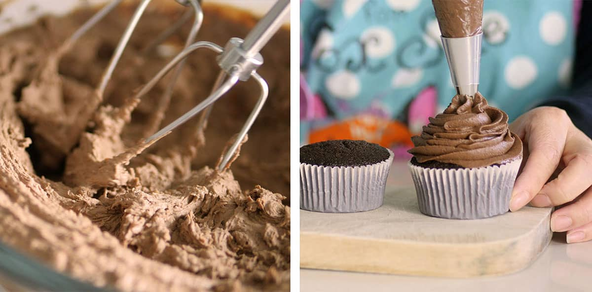 Chocolate frosting being piped onto the top of a chocolate cupcake
