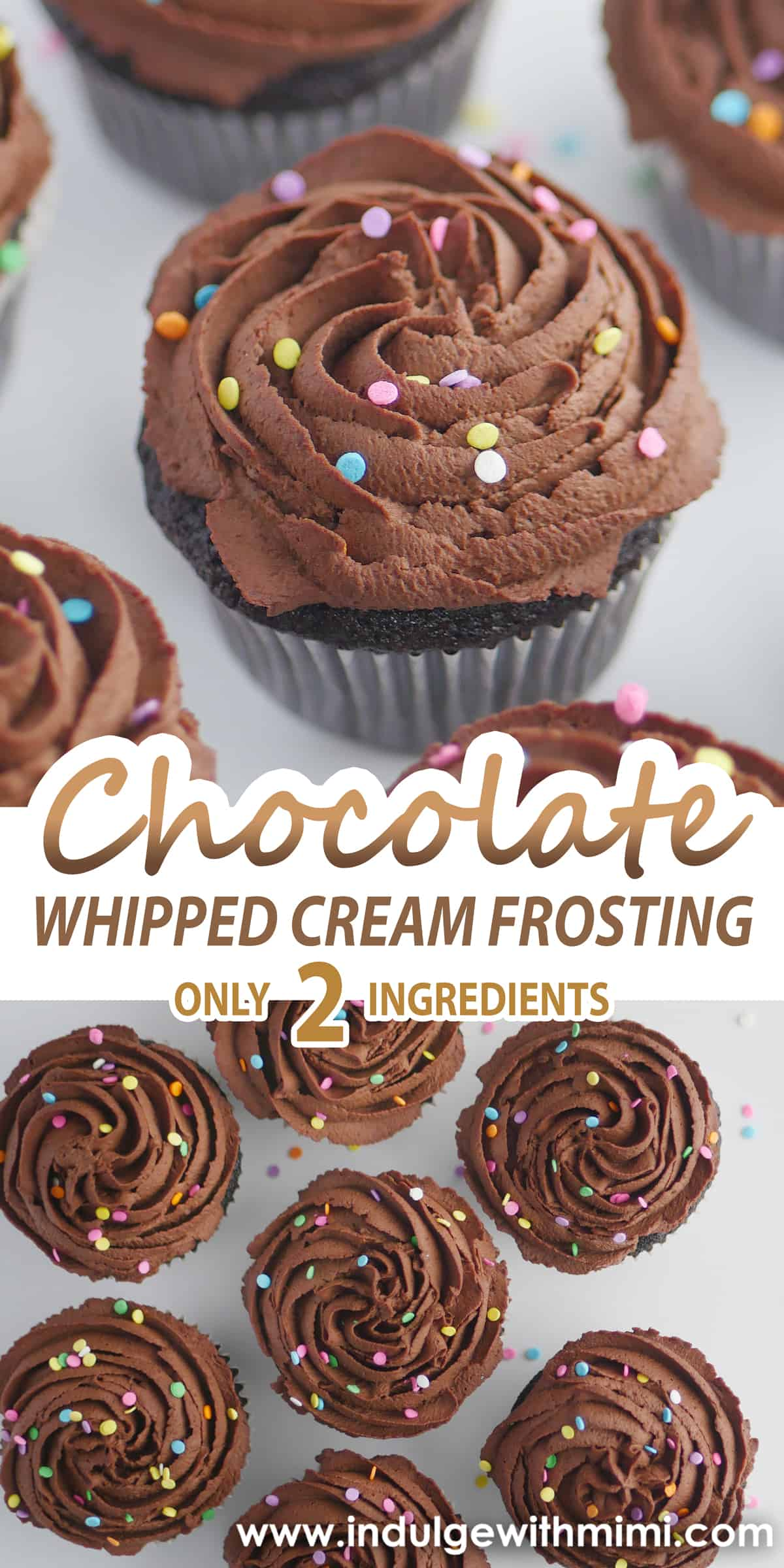 Chocolate whipped cream frosting two ingredient cupcake with rainbow sprinkles on top