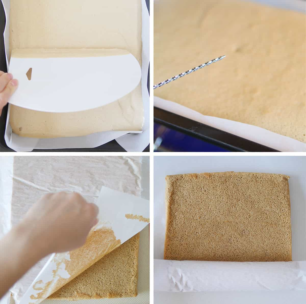 removing parchment paper from a cake roll base straight out of the oven
