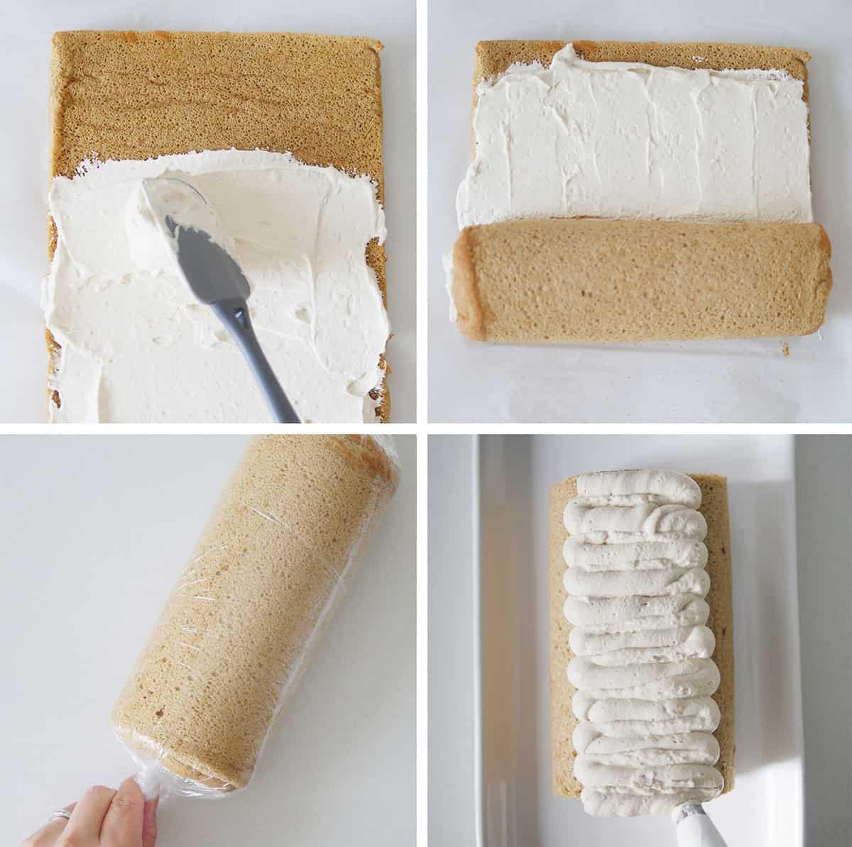 adding coffee cream to the cake roll